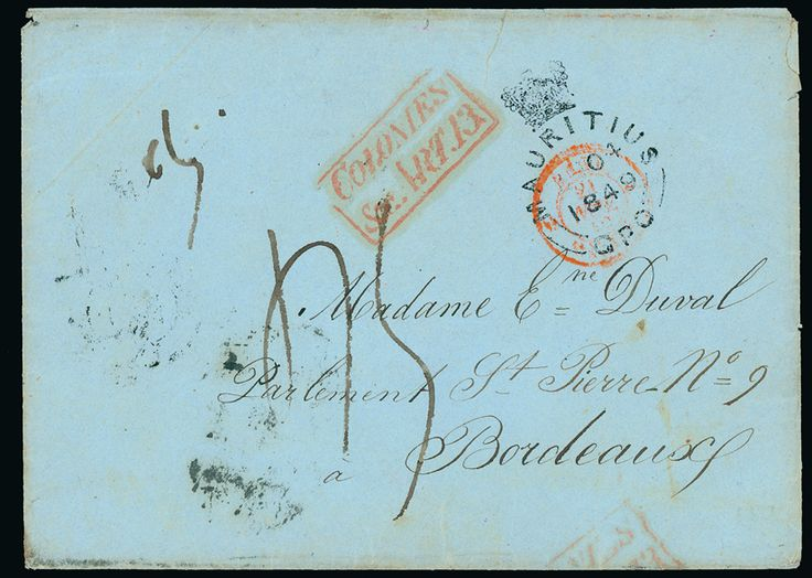 British Indian Ocean Territory: 1849 (July 8) envelope with enclosed entire letter from E. Duval headed ''Boddam (iles Salomon), 8 juillet 1849'', Boddam being the principal island of the Salomon group of the Chagos Archipelago which had at this time no postal arrangement. The letter is endorsed c/o of M. Jean Rabin and was carried by schooner to Mauritius and despatched in envelope to Duval's wife in Bordeaux, the cover showing crowned ''MAURITIUS/AU 04/1849/G.P.O.'' red boxed…