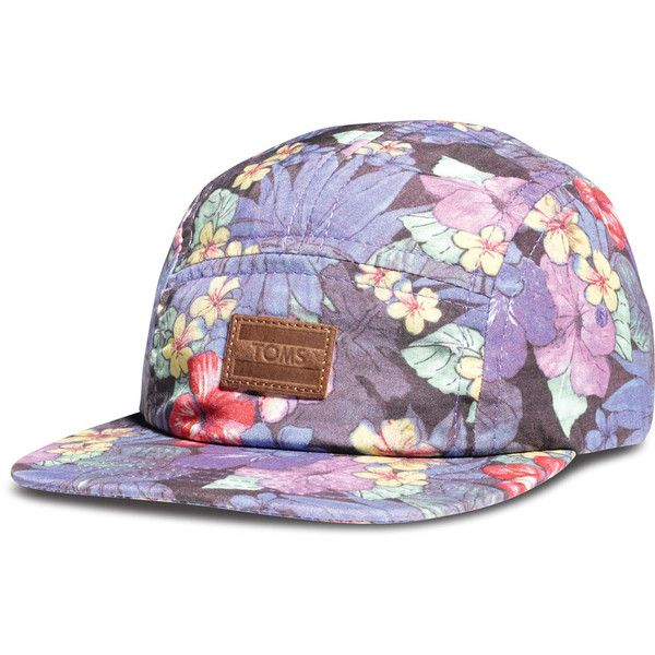 TOMS Floral Five Panel Hat ($32) ❤ liked on Polyvore featuring accessories, hats, headwear, snapback, floral snapback hats, leather strap hat, floral panel hat, snap back hats and leather snapback