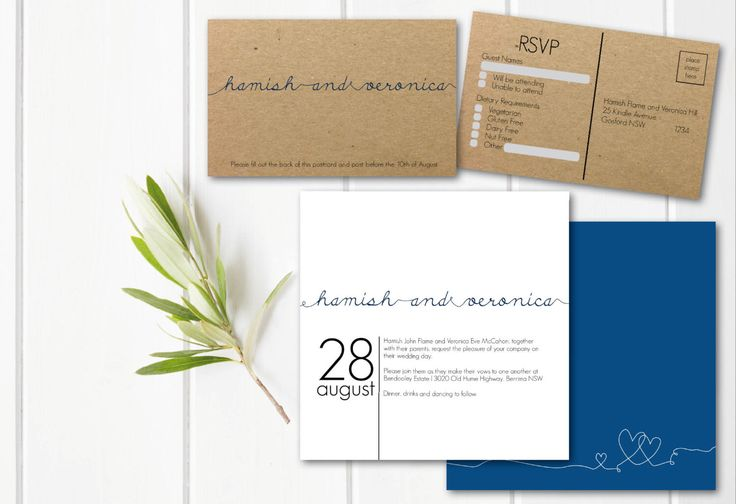 A personal favourite from my Etsy shop https://www.etsy.com/au/listing/481074106/navy-invitation-suite-navy-and-kraft