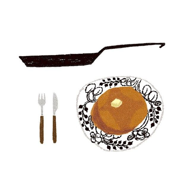 @kun さんの美しいホットケーキ。メープルシロップとバターたっぷりで食べたい! #illustration #drawing #pancake