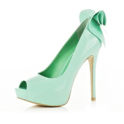 Light green peep toe bow shoes