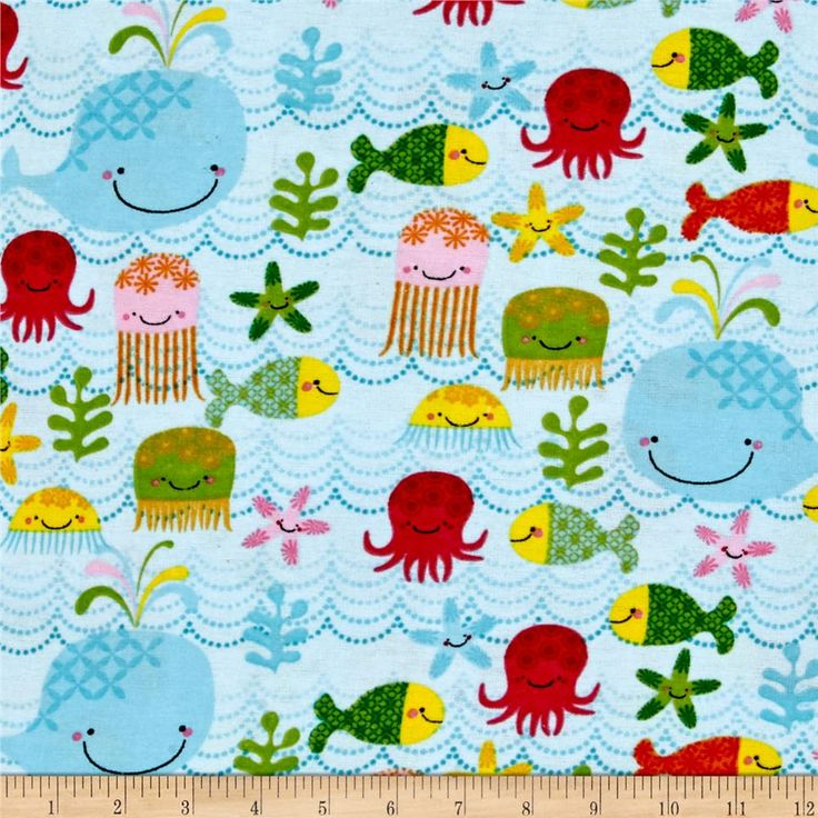 Alpine Flannel Fishing School Blue from @fabricdotcom Designed for Alpine Fabrics, this double-napped (brushed on both sides) flannel is perfect for quilting, apparel and home decor accents. Colors include light blue, red, orange, light pink, green and yellow.