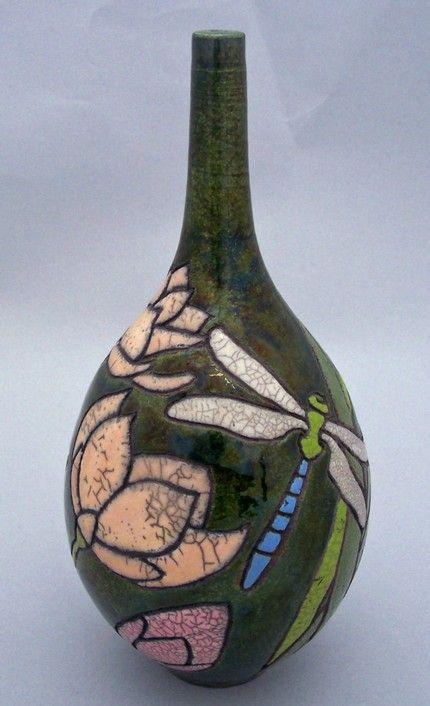 Etsy :: webbpottery :: Dragonflies and Lotuses RAKU Pottery Bottle Vase 11 3/4 H