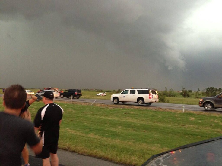 Thanking god right now that the Tornado Hunt team is safe after being hit by tornado in Oklahoma. Photo via Seth Deckard. The Bettes Mobile crushed in the field in the middle of the photo. https://twitter.com/sethdeckard/status/340618012040232960