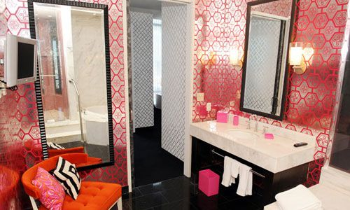 192 best images about orange and pink rooms on pinterest for Pink and orange bathroom ideas