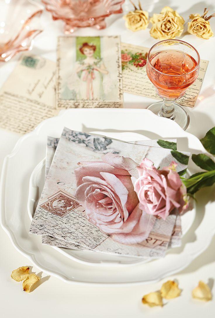 Paper + Design - pink rose floral premium paper napkins from Germany