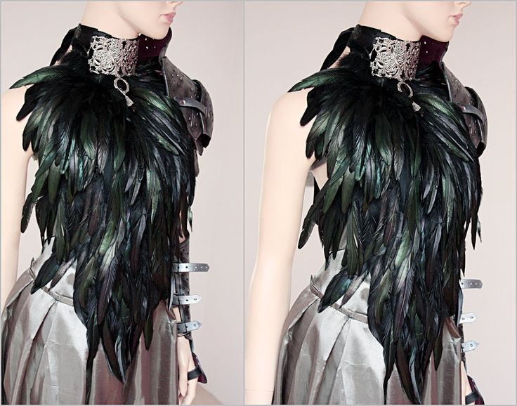 Feather dress and leather armor set I by Pinkabsinthe.deviantart.com on @deviantART