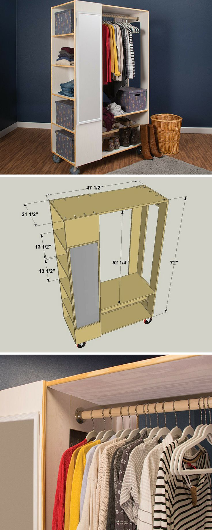 How to Build a Freestanding Closet System | Free project plans on buildsomething.com | Closets are kind of like potato chips. No matter how many you have, it would always be great to have just one more. Of course, finding space for another closet is challenging, if not impossible. That's why this freestanding closet is great. It provides an extra closet anywhere you need one.