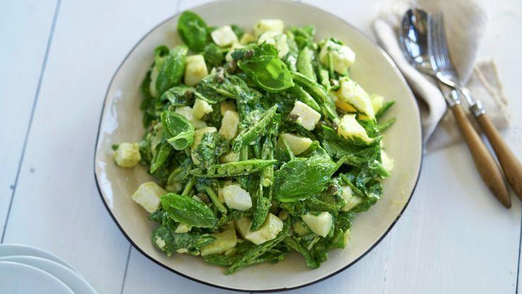 Potetsalat med spinat og fetaost