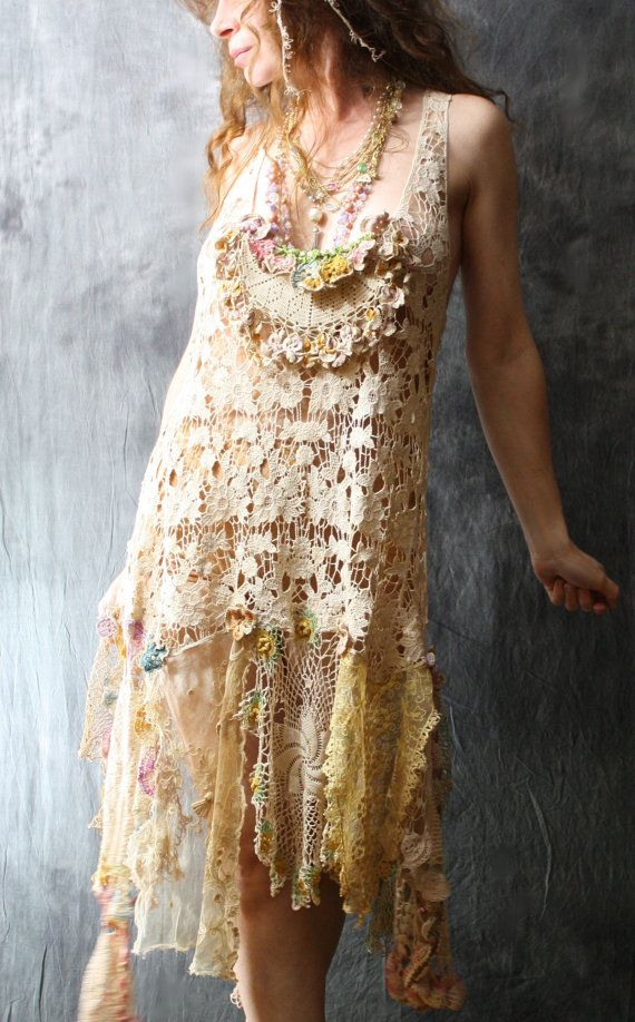 Made To Order Romantic Bohemian Fairy Layering Crochet Lace Dress Pansies Tea Dyed Vintage Doily Reconstructed Upcycled OOAK. $175.00, via Etsy. | See more about Bohemian, Fairies and Lace Dresses.