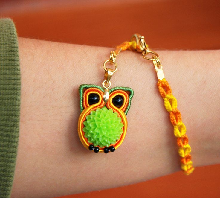 Miniature Owl Charm Bracelet, Woodland animal totem jewelry, Tiny forest bird, Ethnic fiber soutache embroidery, Green flower, Orange yellow by MyFantasies on Etsy