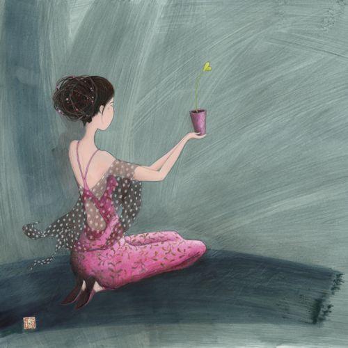 """Gaëlle Boissonnard square card (14 cm) """"Offrir un coeur"""""""