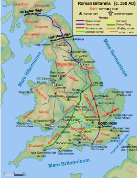 Roman roads, together with Roman aqueducts and the vast standing Roman army, constituted the three most impressive features of the Roman Empire. In Britain, as in their other provinces, the Romans constructed a comprehensive network of paved trunk roads (i.e. surfaced highways) during their nearly four centuries of occupation (43 - 410 AD).