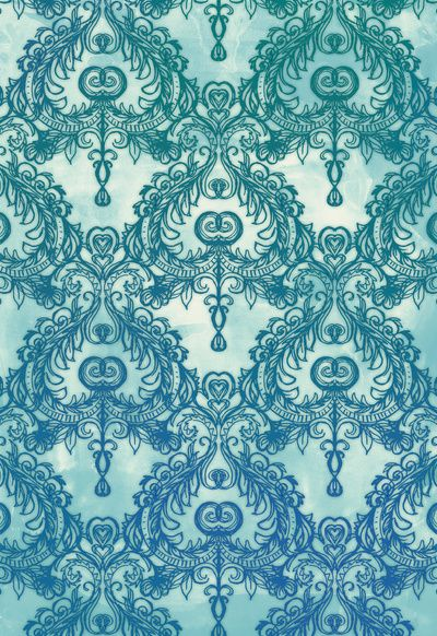 Vintage Wallpaper Pattern In Cobalt Blue Emerald Green Art Print