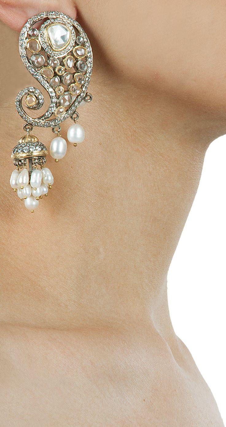 Pearl paisley earrings by VASUNDHARA. Shop now at perniaspopupshop.com