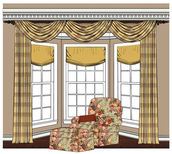 Bay window treatments minus the dated patterns and swag for Bay window treatment ideas living room