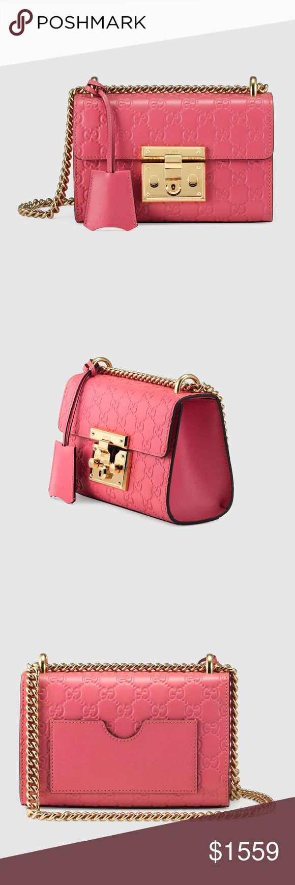 NEW Gucci Padlock Bag Pink GG Signature Embossed L A small structured Gucci Signature leather bag with a key lock closure pulled from the archives, the key is placed in a leather key case that loops around the chain. The sliding chain strap can be worn multiple ways, changing between a shoulder and a top handle bag. Made in heat debossed Gucci Signature leather resulting in a defined print with a firm texture.  Pink Gucci Signature leather Gold-toned hardware Key with leather holder Interior…
