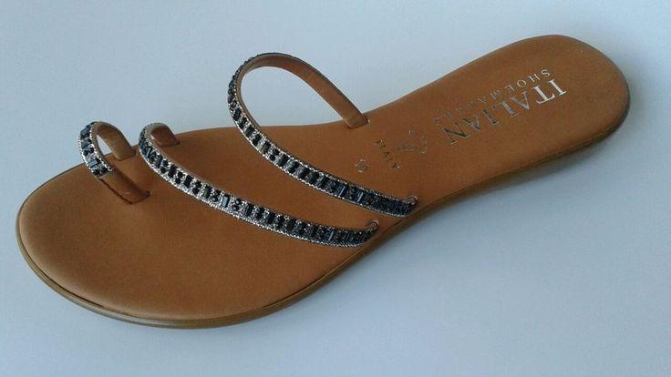 Italian Shoemaker Quot Evita Quot Women Toe Ring Sandals Jewels Sz