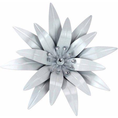 white metal flower wall decor