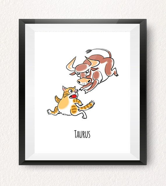 TAURUS CAT ART PRINT (May 16 to June 16)  This Scorpio cat printable is part of our one-of-a-kind Cat-strology collection! All of our cat illustrations make fun wall decorations for your home, office or a kids room! Treat yourself or give them as a gift to someone special born under this horoscope sign!