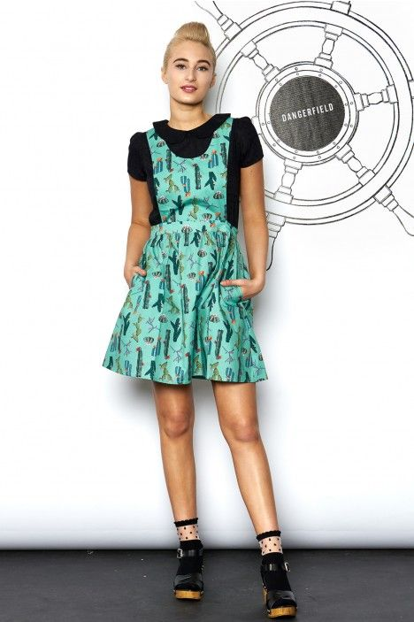 "Dangerfield ""Don't be a prick"" Cactus Print Pinafore Dress"