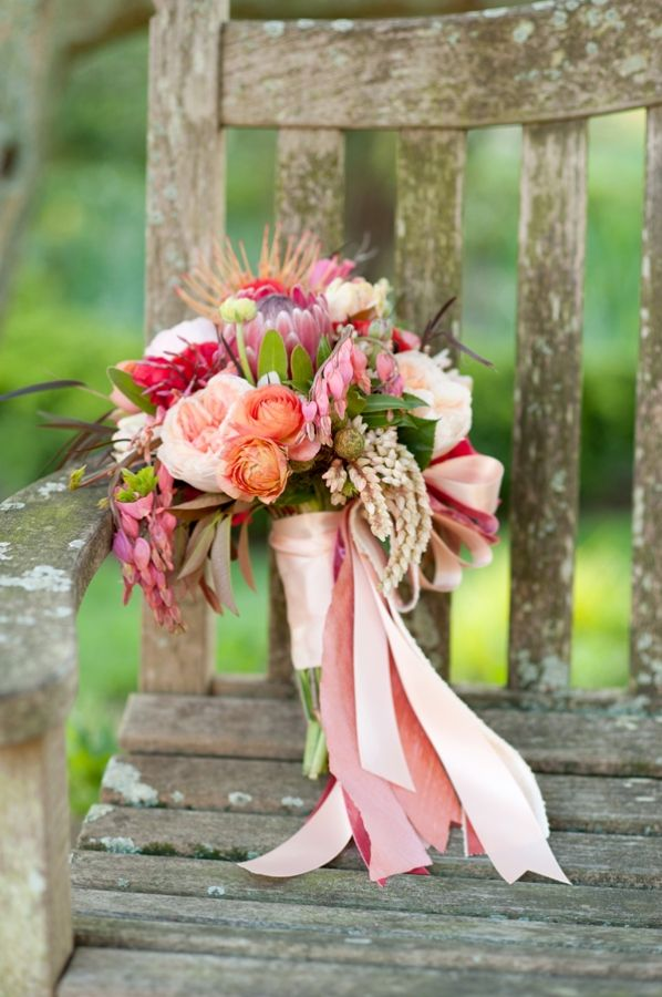Pink Peach and Purple Bouquet With Ribbons on Rustic Chair | photography by http://cynkainphotography.com/