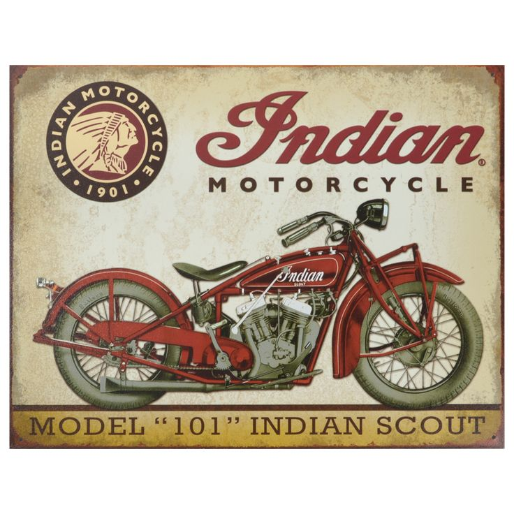 This vintage metal art 'Indian Scout Motorcycle' decorative tin sign measures 16 inches x 12.5 inches and is using heavy gauge American steel. This nostalgic tin sign comes with pre-punched holes, so it's ready to hang.