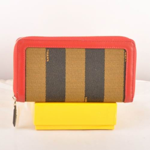 Fendi Red Leather with Striped Fabric Zipper Wallet          $89.00