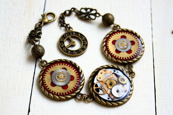 Steampunk Bracelet Parallel Universes by JeanneNoireRepunked