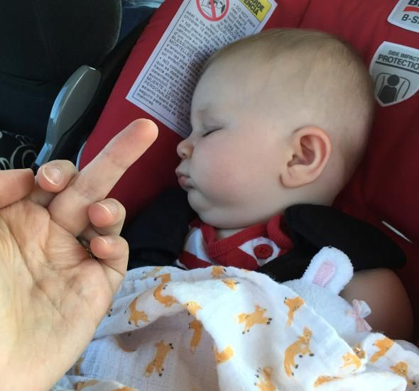 How long until she snaps and does something worse to this poor baby?! New Mom Keeps Giving Her Baby the 'Middle Finger' on Facebook — This Is Her 'Excuse' Image credit: Facebook