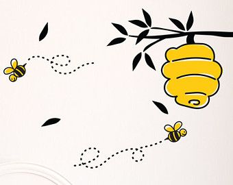 Bee Decal Hive Wall Sticker Honey Bees Yellow Spring Winnie The Poo Disney Bumble