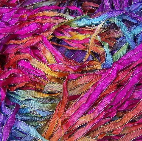 Hand Dyed Ribbon Fiesta Sparkle Black Edge 5 yards by JodyPoesy, $5.00: Yard