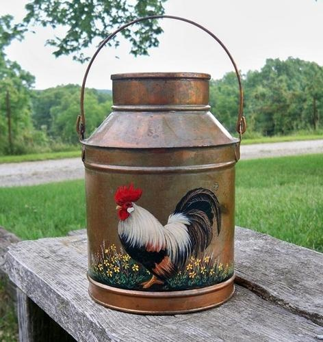 OLD CREAM CAN MILK PAIL Gold HP Red Rooster Wildflowers Galvanized Hand Painted | eBay