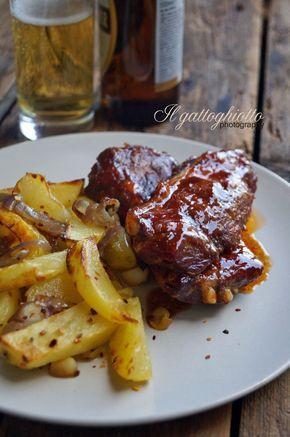 il gattoghiotto: Costine di maiale alla texana (al forno) con patate al chili e salsa barbecue