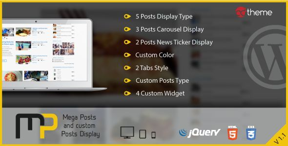 Download CodeCanyon  Mega Posts and Custom Posts Display v1.1  WP Plugin Free