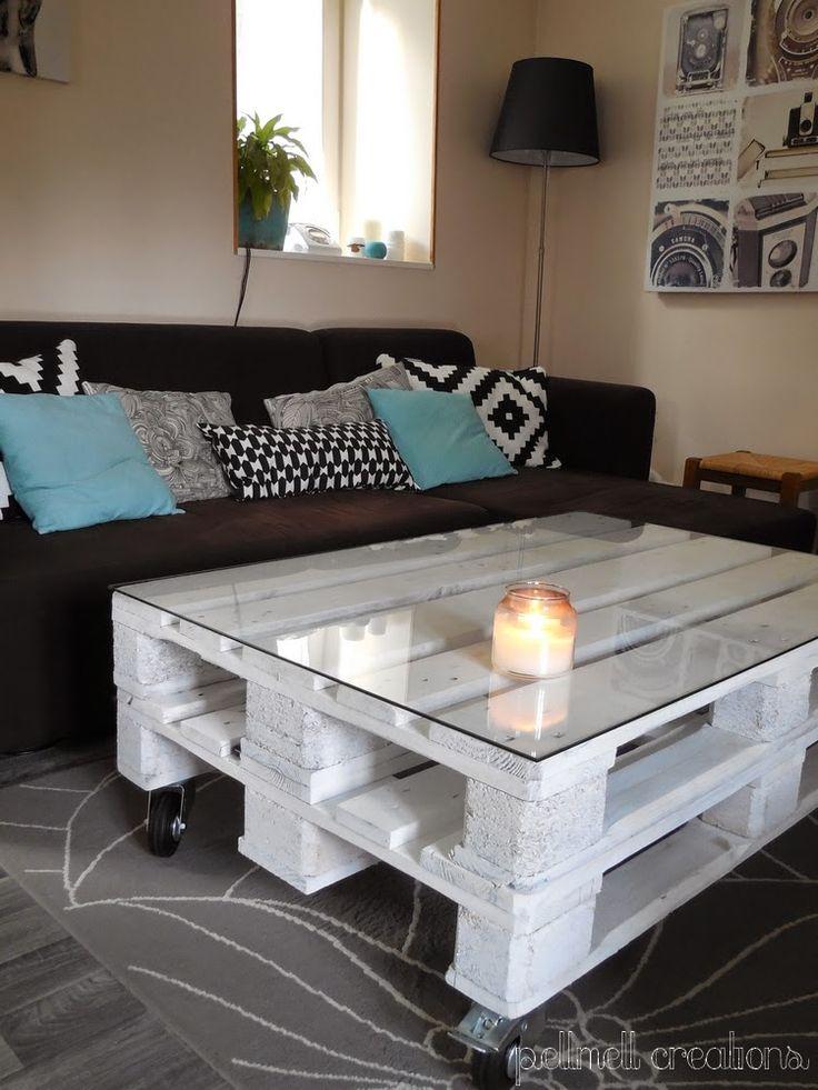 Notre nouvelle table basse en palettes meubles pinterest construction - Construire table basse palette ...