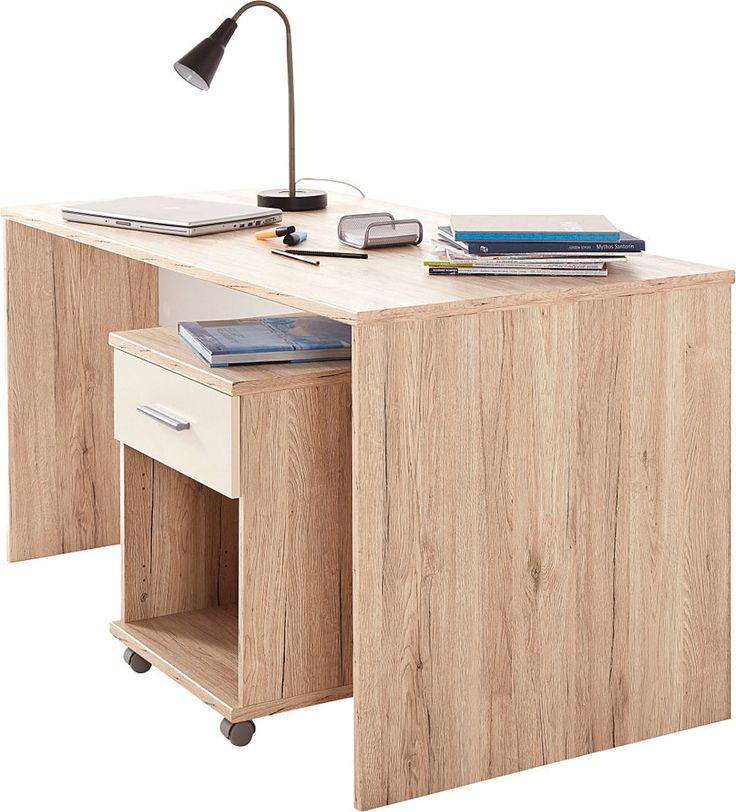 Schreibtisch »Jork« für 119,99€. Moderner Jugendschreibtisch, Arbeitsplattenhöhe: 72 cm, Arbeistfläche B/T: 140/70 cm, Eichefarben San Remo bei OTTO