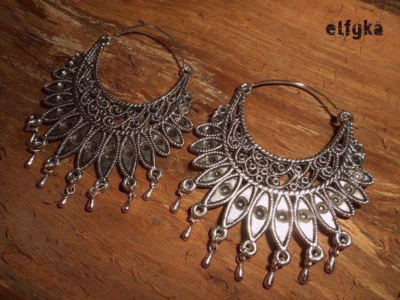 Boucles d'oreilles Ethniques - Argent Tibétain, Gypsy, Ornement, Tribal on Etsy, 15,00€