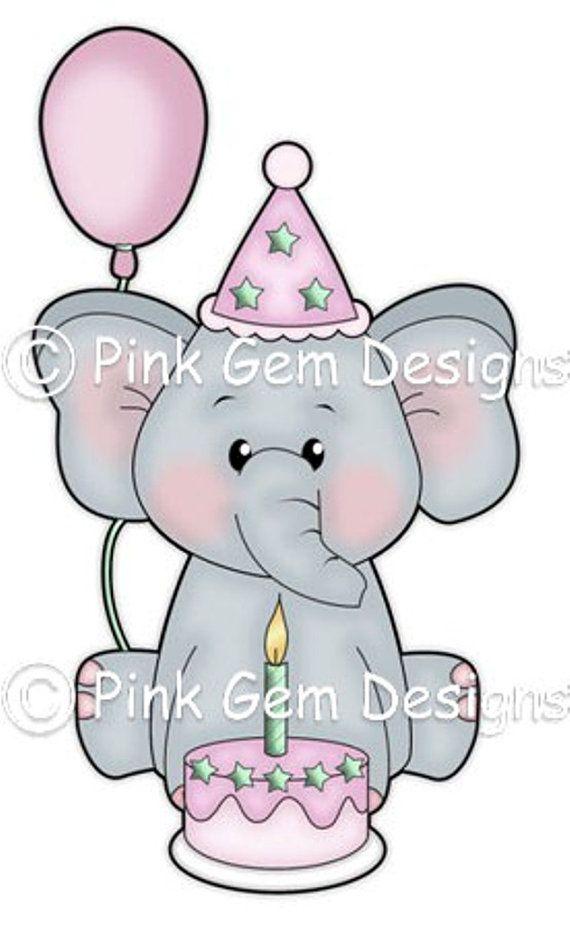 Digi Stamp  'Birthday Ella'  Birthday Elephant