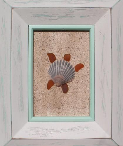 "Real Sea Beach Glass Art - Nautical Decor ""Shell Sea Turtle""  Cute ocean project for kids to make too!"