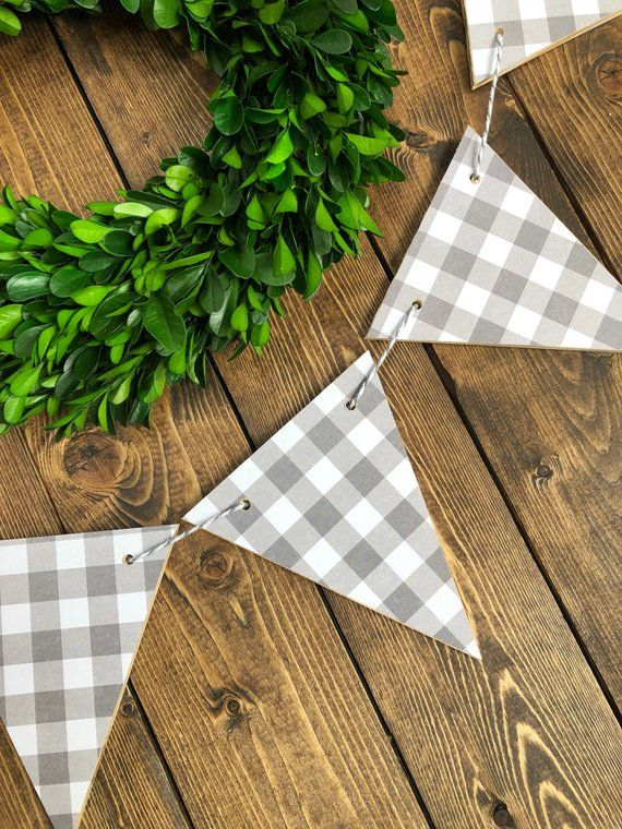 gingham Bunting Flags Flags Black /& White Plaid Wood Banner Wood Bunting Flags Check Banner Bunting Garland