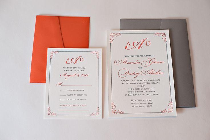 REAL WEDDING: Alexandra and Dimitriy   Coral and Grey Wedding Invitations