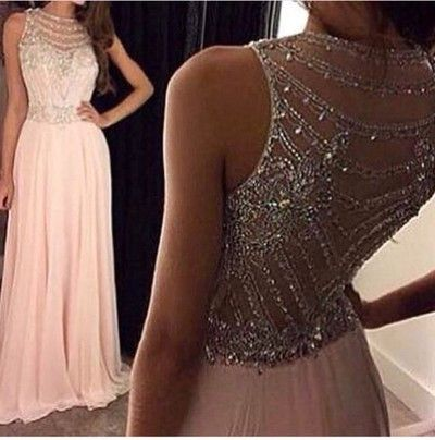 Amazing See Through Evening Party Prom Dresses, Blush pink prom Dress, Beaded Prom Dress…