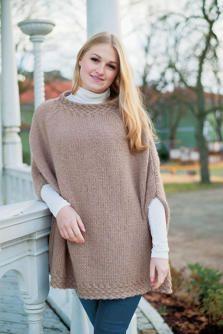 Basket-Weave Cable Poncho by Denise Samson.