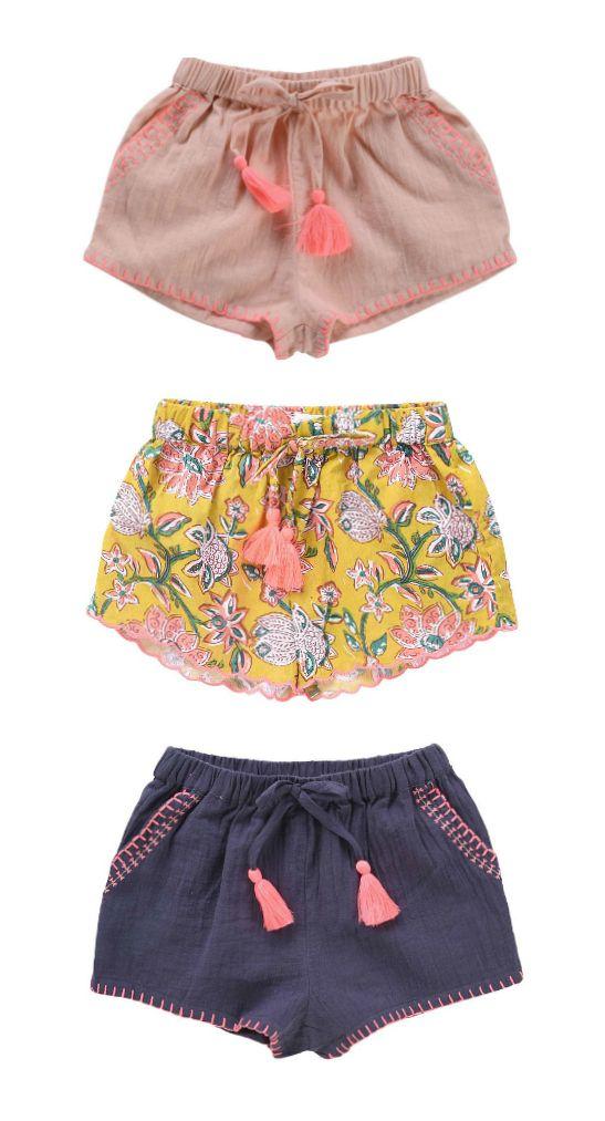Girls Embroidered Tassel Shorts | Louise Misha
