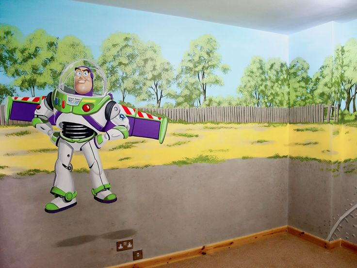 Whole Boyu0027s Room Mural With Carsu0027 McQueen, Mater, Toy Storyu0027s Buzz  Lightyear, Fireman Sam And Thomas The Tank Part 62