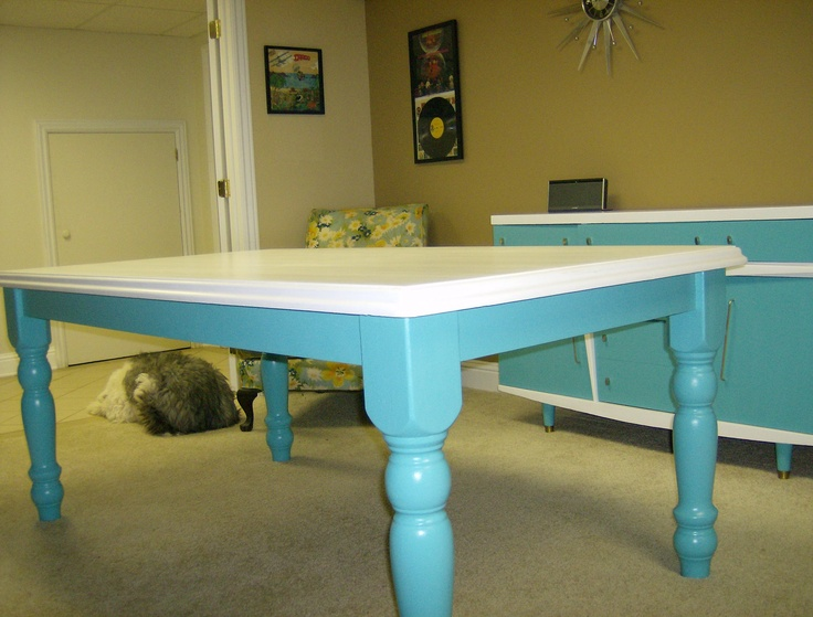 Kitchen table painted turquoise and white upcycled gems for Teal kitchen table
