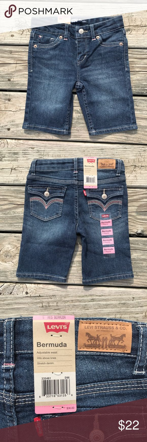 NWT Levi's Bermuda Shorts New With Tags girl's Levi's Bermuda shorts. Adjustable waist, size 5 regular. Levi's Bottoms Shorts