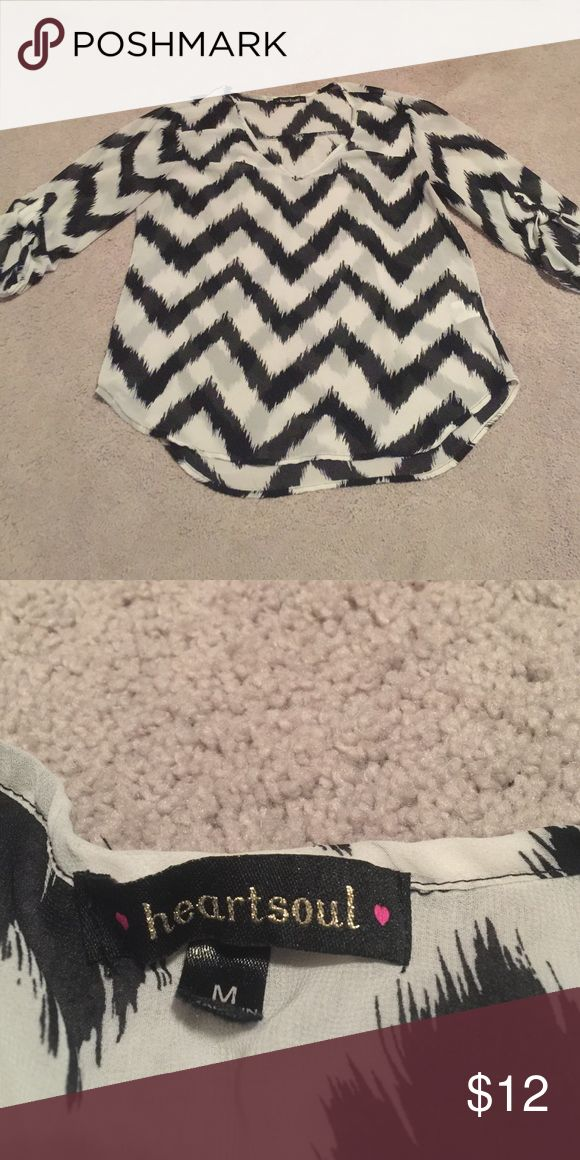 Chevron blouse Black and white chevron blouse sheer light weight too Tops Blouses