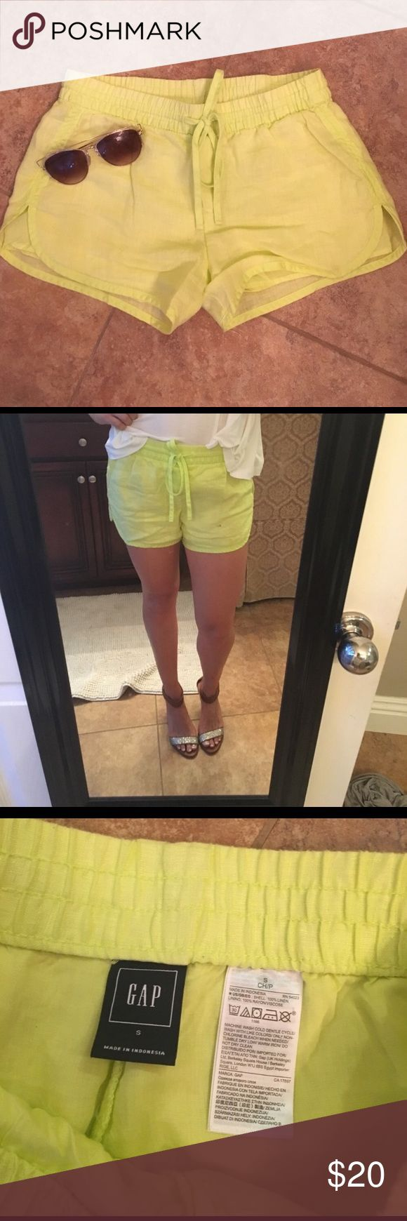 Linen neon yellow shorts by Gap Size small, worn once, brand new condition, no flaws GAP Shorts